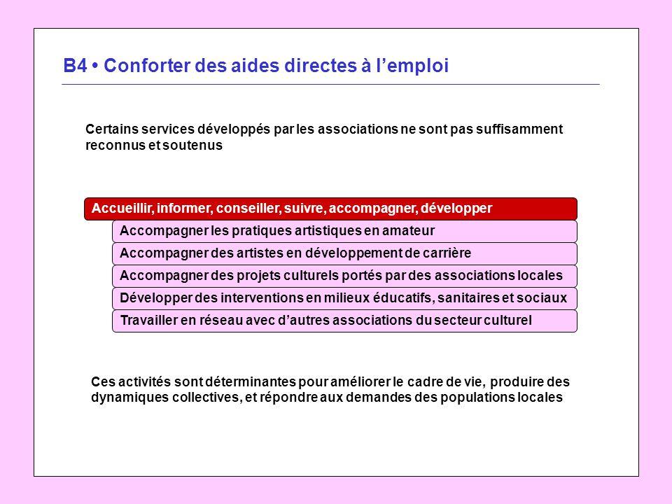 B4 Conforter des aides directes à lemploi Certains services développés par les associations ne sont pas suffisamment reconnus et soutenus Accompagner