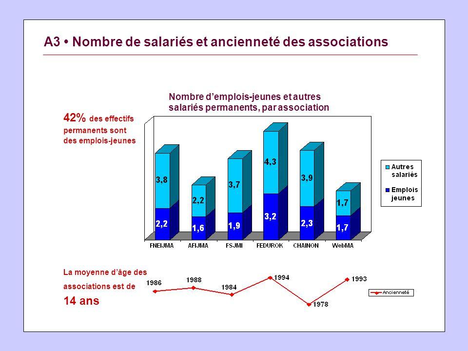 A3 Nombre de salariés et ancienneté des associations 42% des effectifs permanents sont des emplois-jeunes La moyenne dâge des associations est de 14 ans Nombre demplois-jeunes et autres salariés permanents, par association