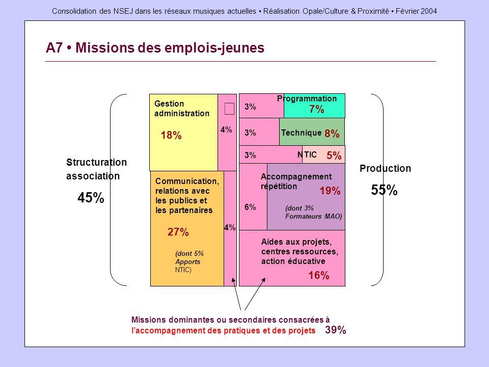 Consolidation des NSEJ dans les réseaux musiques actuelles Réalisation Opale/Culture & Proximité Février 2004 A7 Missions des emplois-jeunes Structura