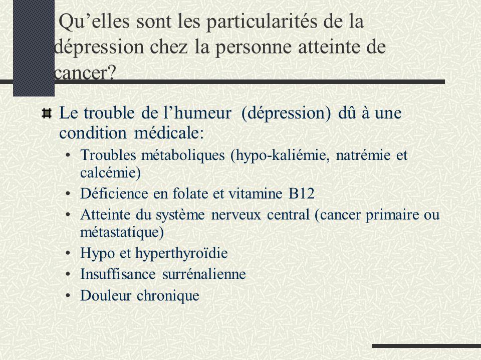 Quelles sont les particularités de la dépression chez la personne atteinte de cancer? Le trouble de lhumeur (dépression) dû à une condition médicale: