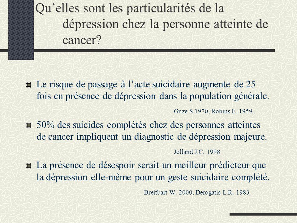 Quelles sont les particularités de la dépression chez la personne atteinte de cancer? Le risque de passage à lacte suicidaire augmente de 25 fois en p