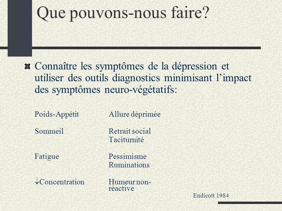 Que pouvons-nous faire? Connaître les symptômes de la dépression et utiliser des outils diagnostics minimisant limpact des symptômes neuro-végétatifs: