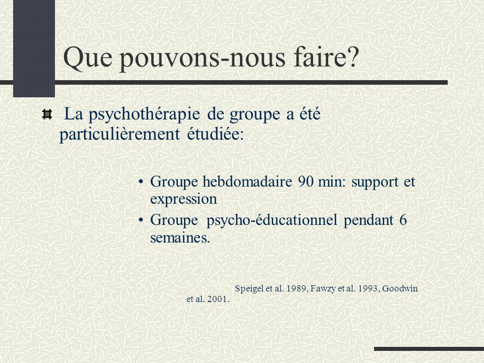 Que pouvons-nous faire? La psychothérapie de groupe a été particulièrement étudiée: Groupe hebdomadaire 90 min: support et expression Groupe psycho-éd