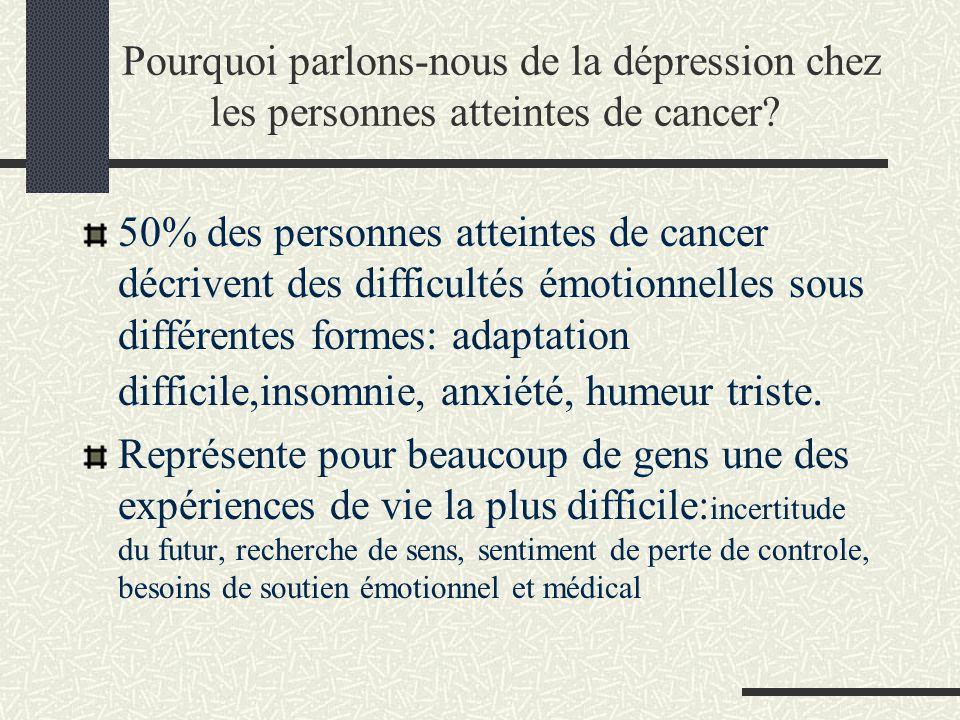 Pourquoi parlons-nous de la dépression chez les personnes atteintes de cancer? 50% des personnes atteintes de cancer décrivent des difficultés émotion