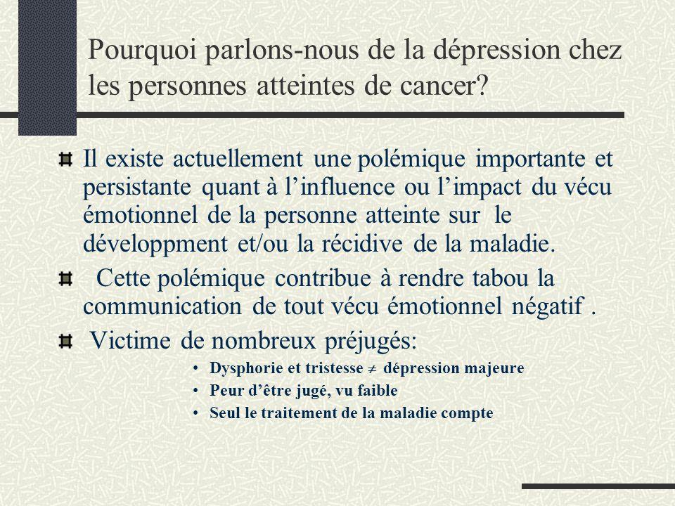 Pourquoi parlons-nous de la dépression chez les personnes atteintes de cancer? Il existe actuellement une polémique importante et persistante quant à