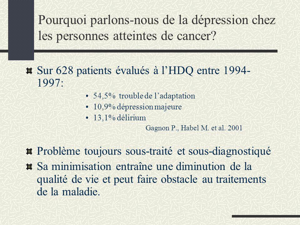 Pourquoi parlons-nous de la dépression chez les personnes atteintes de cancer? Sur 628 patients évalués à lHDQ entre 1994- 1997: 54,5% trouble de lada