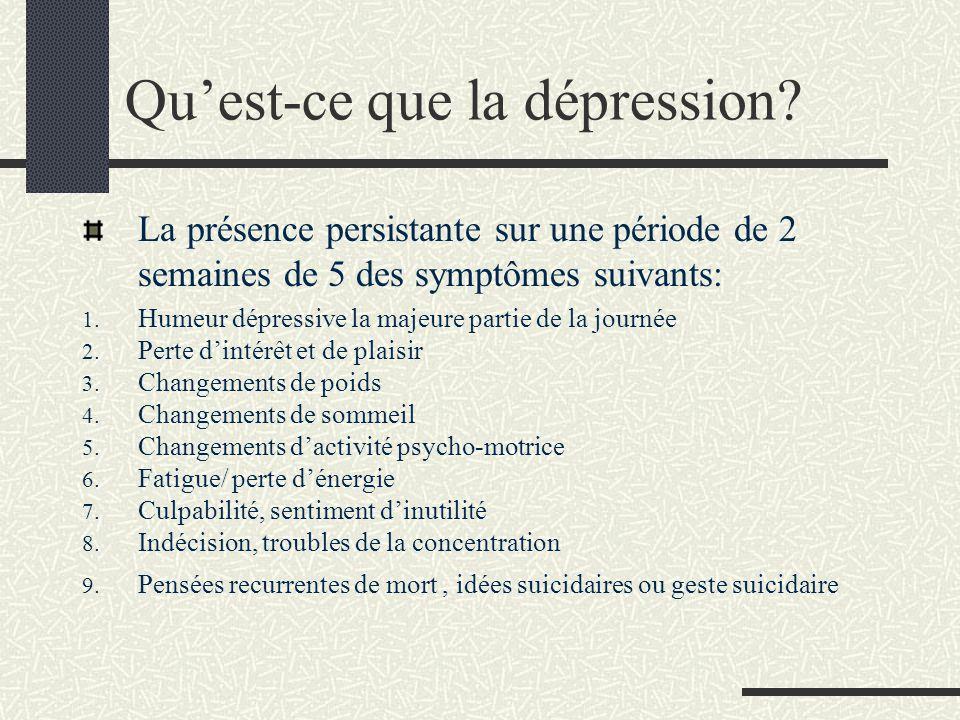 Quest-ce que la dépression? La présence persistante sur une période de 2 semaines de 5 des symptômes suivants: 1. Humeur dépressive la majeure partie
