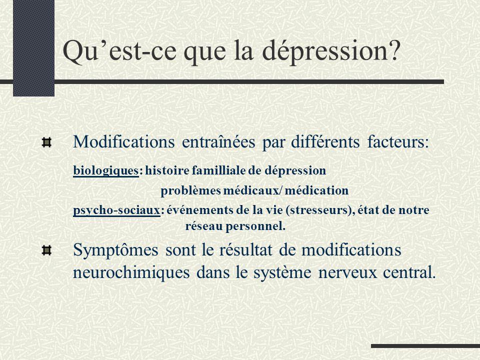 Quest-ce que la dépression? Modifications entraînées par différents facteurs: biologiques: histoire familliale de dépression problèmes médicaux/ médic