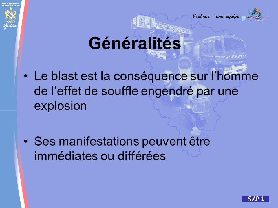 Service départemental d incendie et de secours Yvelines : une équipe SAP 1 Généralités Le blast est la conséquence sur lhomme de leffet de souffle engendré par une explosion Ses manifestations peuvent être immédiates ou différées