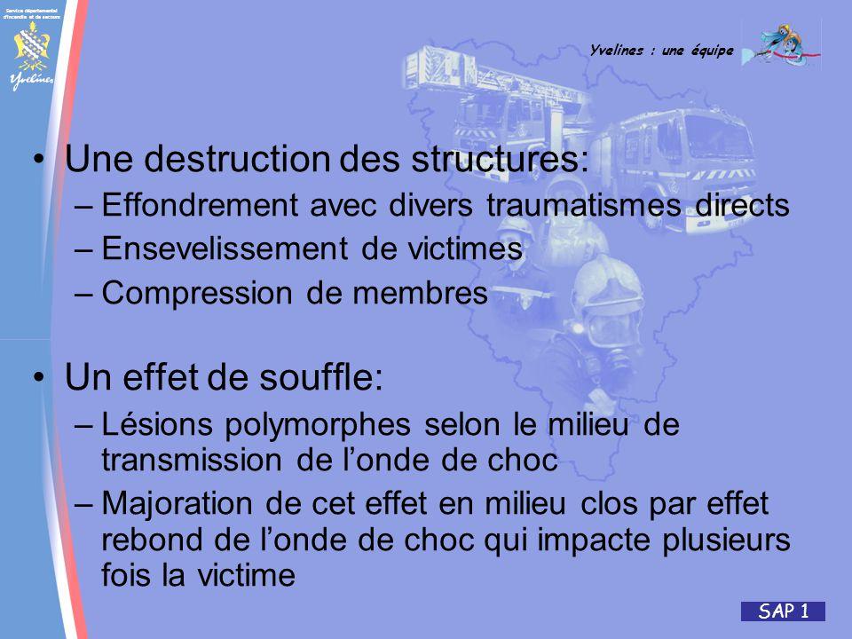 Service départemental d'incendie et de secours Yvelines : une équipe SAP 1 Une destruction des structures: –Effondrement avec divers traumatismes dire