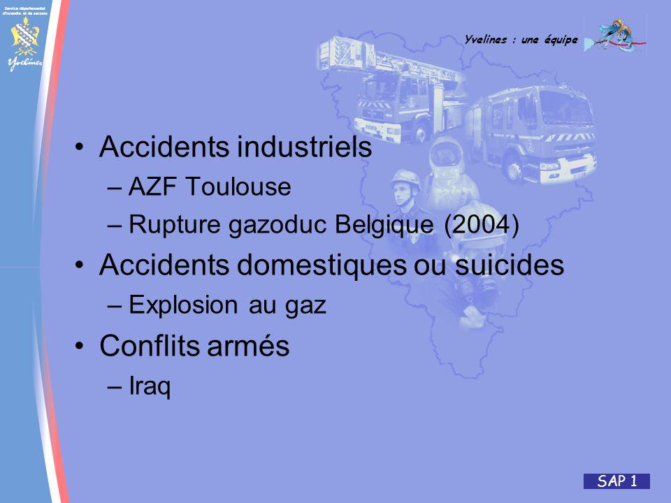 Service départemental d incendie et de secours Yvelines : une équipe SAP 1 Accidents industriels –AZF Toulouse –Rupture gazoduc Belgique (2004) Accidents domestiques ou suicides –Explosion au gaz Conflits armés –Iraq