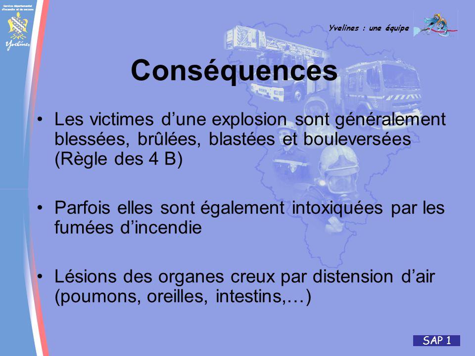Service départemental d'incendie et de secours Yvelines : une équipe SAP 1 Les victimes dune explosion sont généralement blessées, brûlées, blastées e