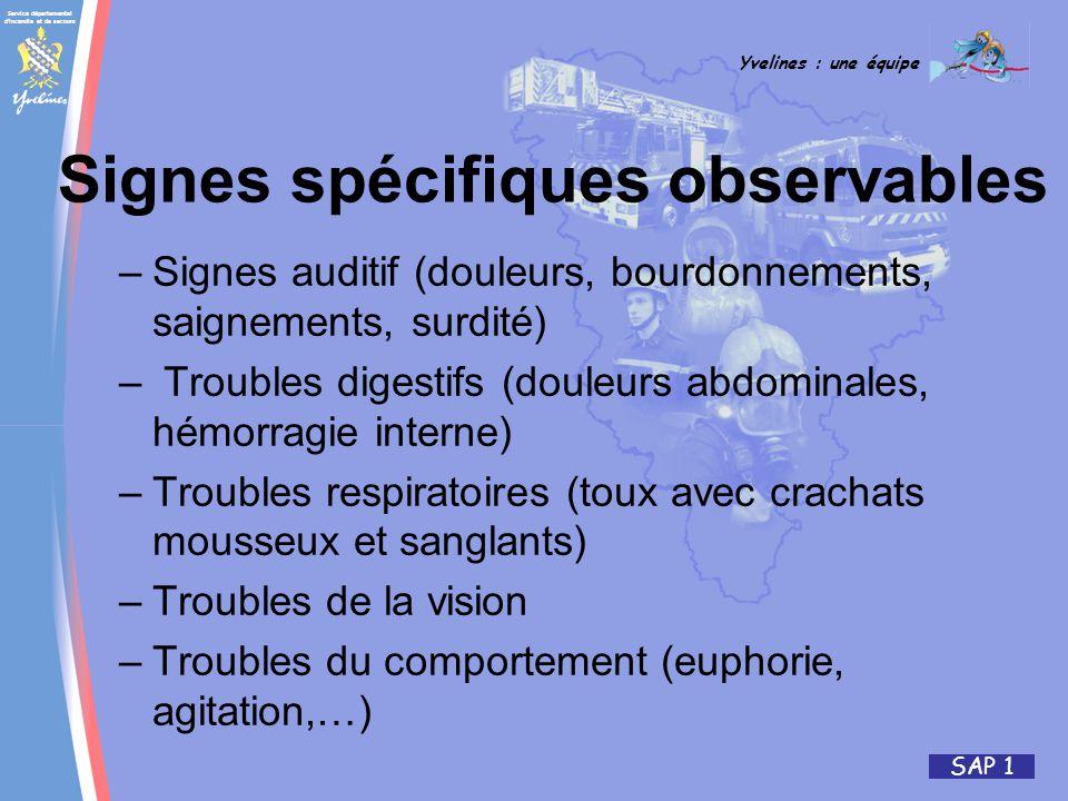 Service départemental d'incendie et de secours Yvelines : une équipe SAP 1 –Signes auditif (douleurs, bourdonnements, saignements, surdité) – Troubles