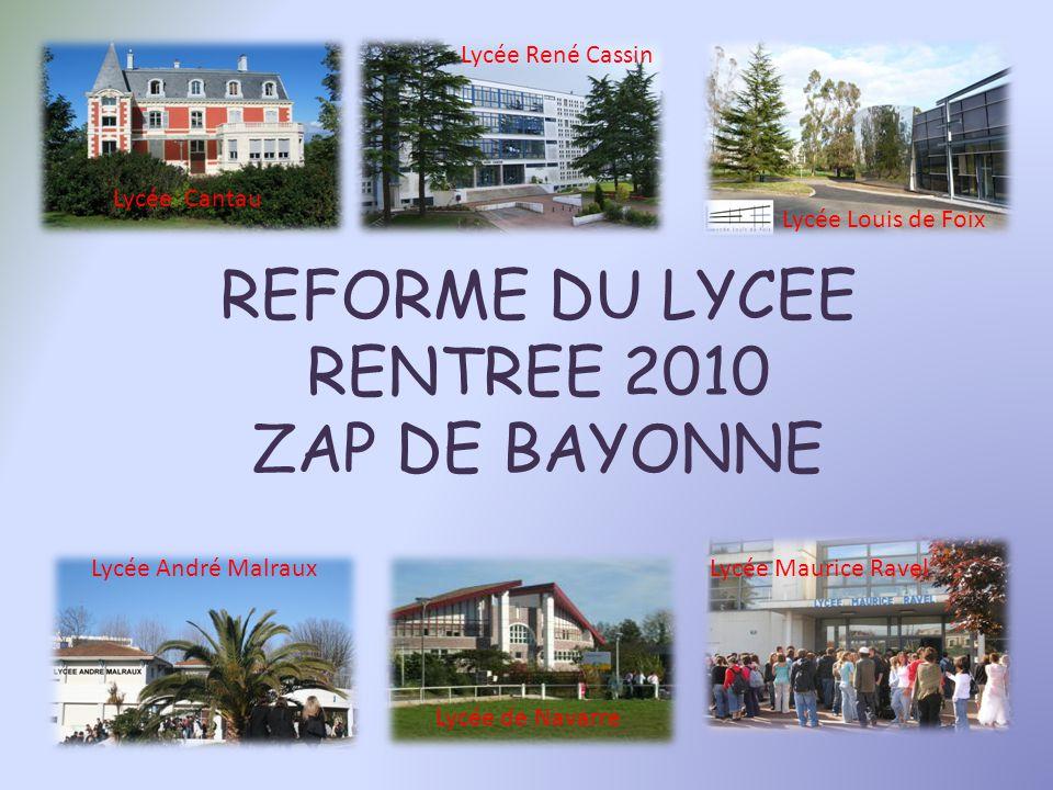 REFORME DU LYCEE RENTREE 2010 ZAP DE BAYONNE Lycée René Cassin Lycée Louis de Foix Lycée Cantau Lycée André Malraux Lycée Maurice Ravel Lycée de Navarre