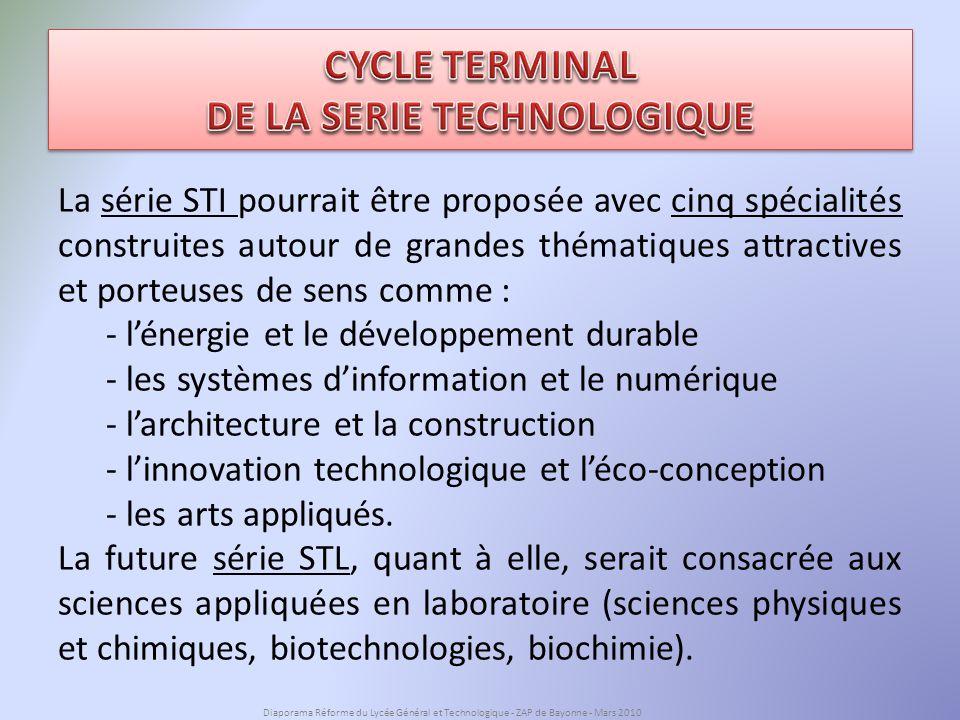 La série STI pourrait être proposée avec cinq spécialités construites autour de grandes thématiques attractives et porteuses de sens comme : - lénergie et le développement durable - les systèmes dinformation et le numérique - larchitecture et la construction - linnovation technologique et léco-conception - les arts appliqués.