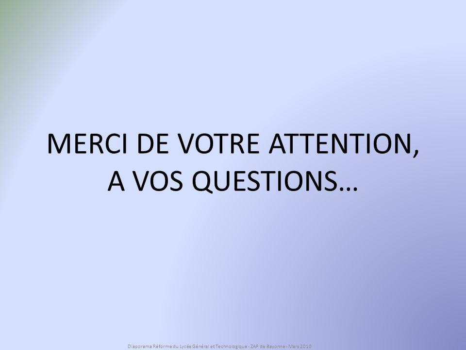 MERCI DE VOTRE ATTENTION, A VOS QUESTIONS… Diaporama Réforme du Lycée Général et Technologique - ZAP de Bayonne - Mars 2010