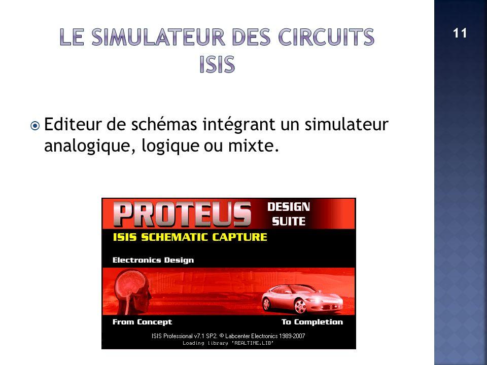 Editeur de schémas intégrant un simulateur analogique, logique ou mixte. 11
