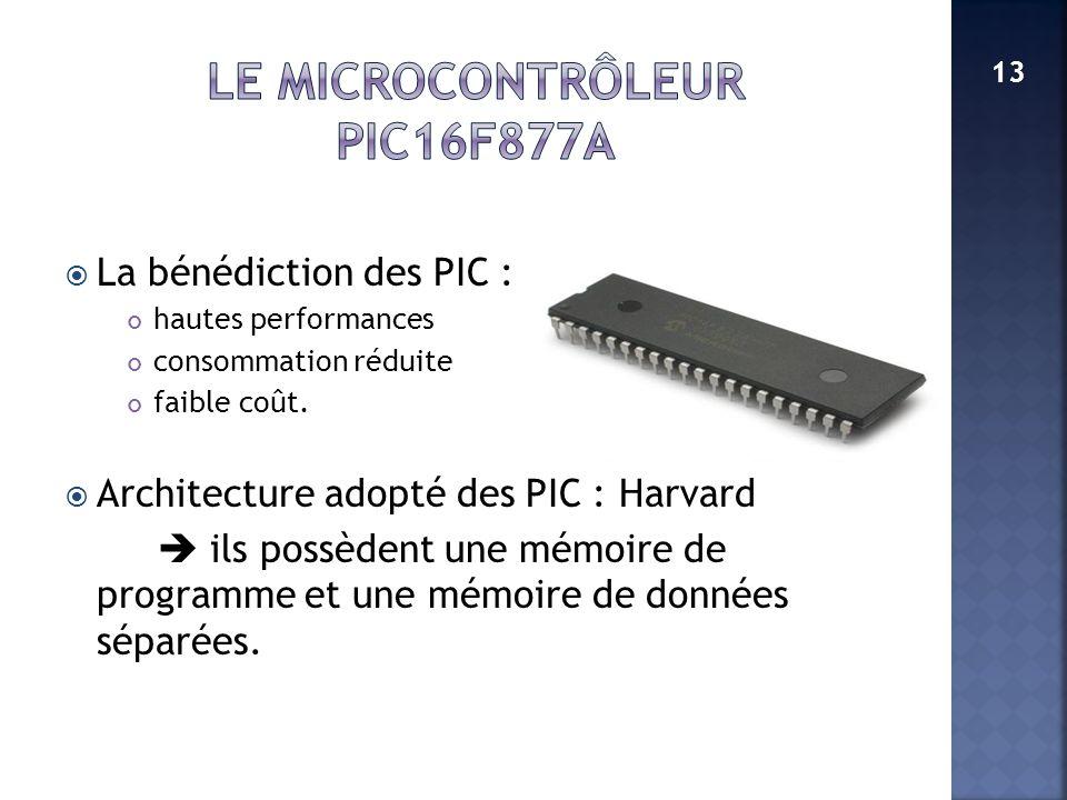 La bénédiction des PIC : hautes performances consommation réduite faible coût. Architecture adopté des PIC : Harvard ils possèdent une mémoire de prog