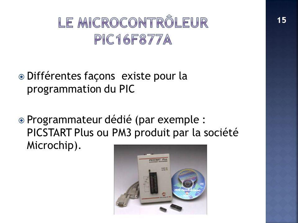 Différentes façons existe pour la programmation du PIC Programmateur dédié (par exemple : PICSTART Plus ou PM3 produit par la société Microchip). 15