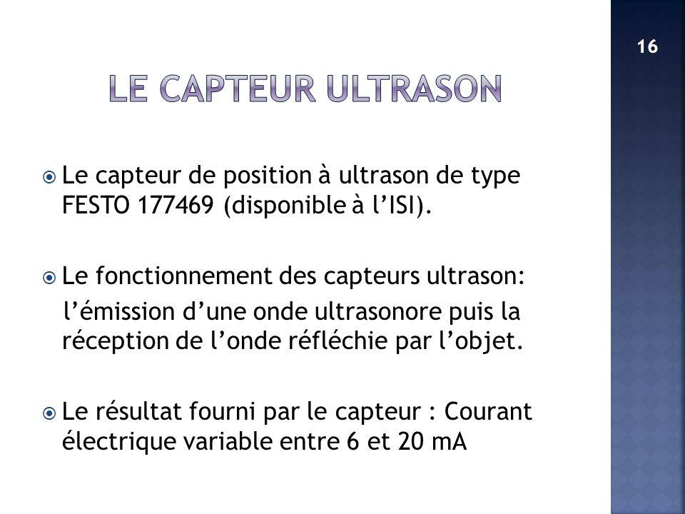 Le capteur de position à ultrason de type FESTO 177469 (disponible à lISI). Le fonctionnement des capteurs ultrason: lémission dune onde ultrasonore p