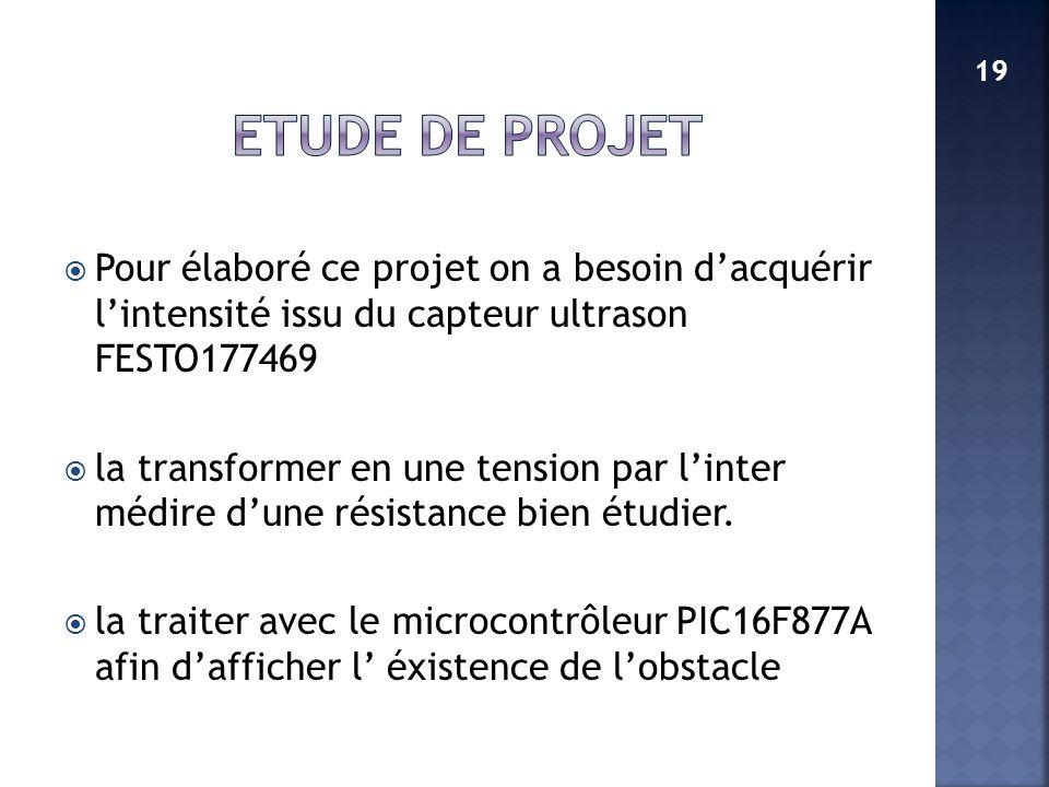 Pour élaboré ce projet on a besoin dacquérir lintensité issu du capteur ultrason FESTO177469 la transformer en une tension par linter médire dune rési