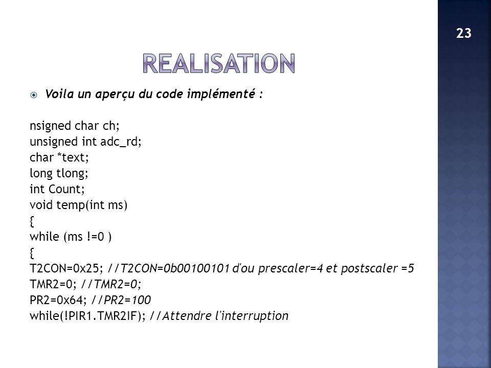 Voila un aperçu du code implémenté : nsigned char ch; unsigned int adc_rd; char *text; long tlong; int Count; void temp(int ms) { while (ms !=0 ) { T2