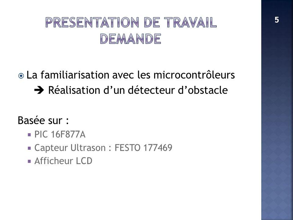La familiarisation avec les microcontrôleurs Réalisation dun détecteur dobstacle Basée sur : PIC 16F877A Capteur Ultrason : FESTO 177469 Afficheur LCD