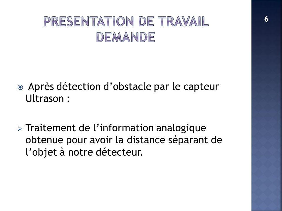 Après détection dobstacle par le capteur Ultrason : Traitement de linformation analogique obtenue pour avoir la distance séparant de lobjet à notre dé