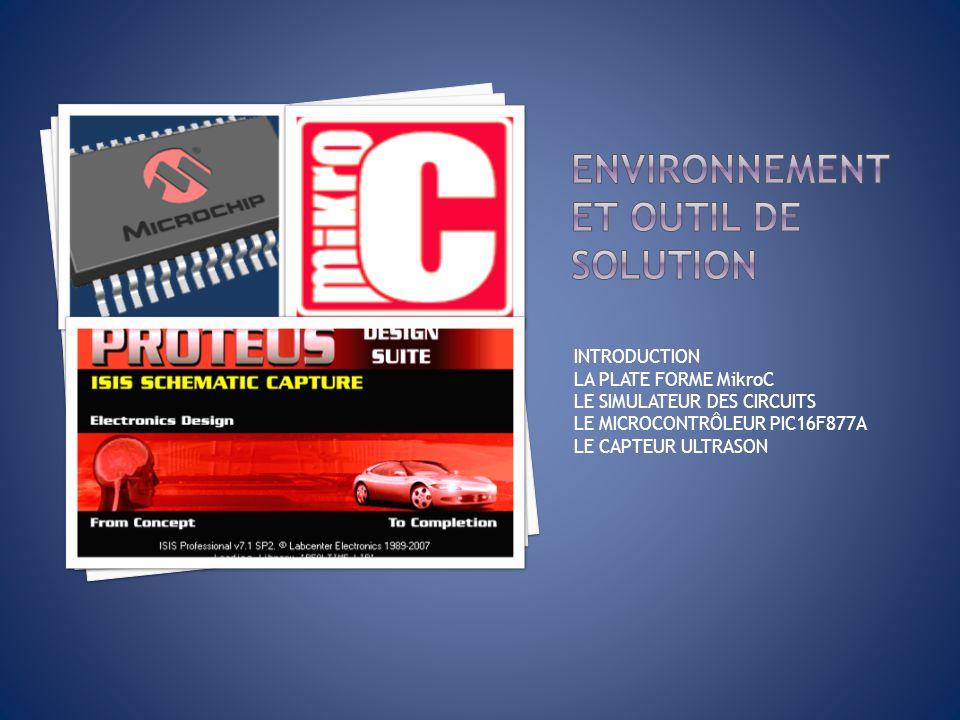 La réalisation de la solution exige lutilisation de: Plateforme MikroC Simulateur des circuits lISIS Dispositifs PIC16F877A Capteur ultrason FESTO 177469 Ecran LCD (2 Lignes 16 Colonnes).