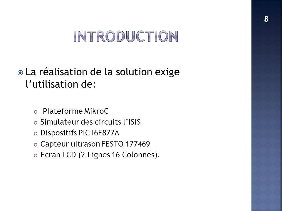 La réalisation de la solution exige lutilisation de: Plateforme MikroC Simulateur des circuits lISIS Dispositifs PIC16F877A Capteur ultrason FESTO 177