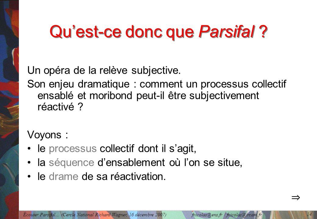 Écouter Parsifal… (Cercle National Richard Wagner, 16 décembre 2007) fnicolas@ens.fr / fnicolas@ircam.fr 14 Quest-ce donc que Parsifal .
