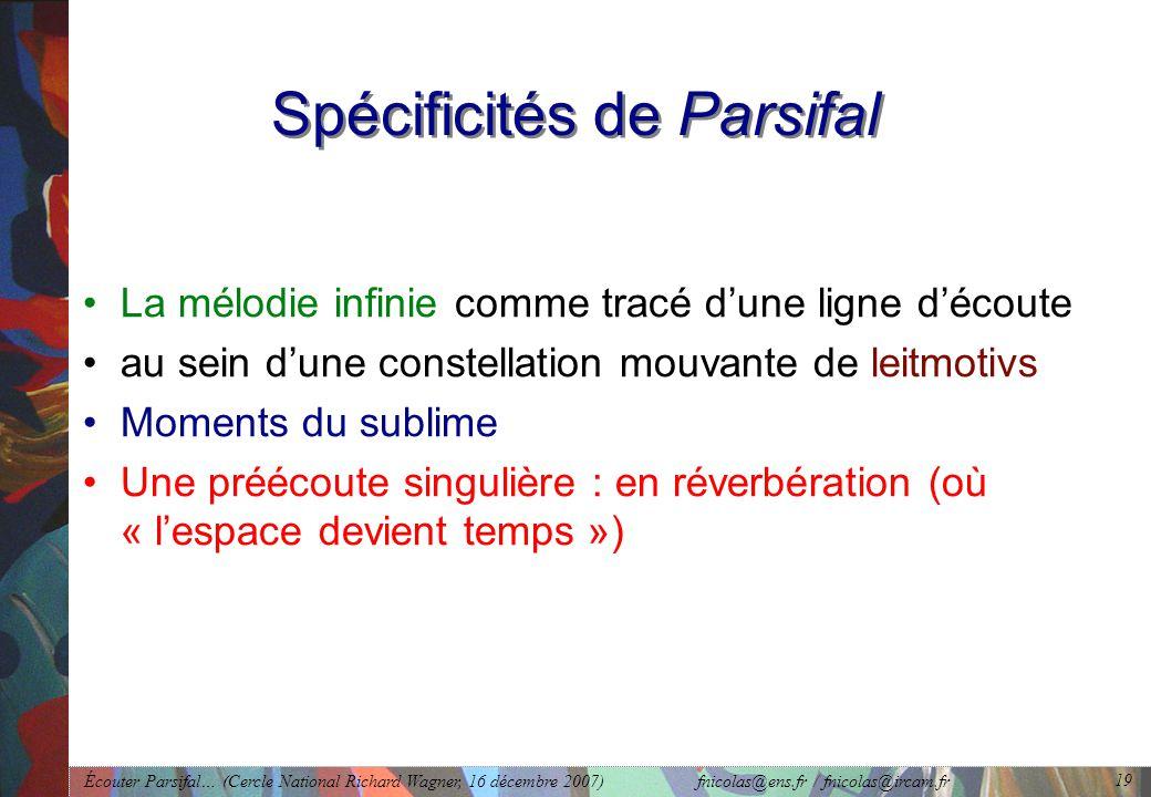 Écouter Parsifal… (Cercle National Richard Wagner, 16 décembre 2007) fnicolas@ens.fr / fnicolas@ircam.fr 19 Spécificités de Parsifal La mélodie infinie comme tracé dune ligne découte au sein dune constellation mouvante de leitmotivs Moments du sublime Une préécoute singulière : en réverbération (où « lespace devient temps »)
