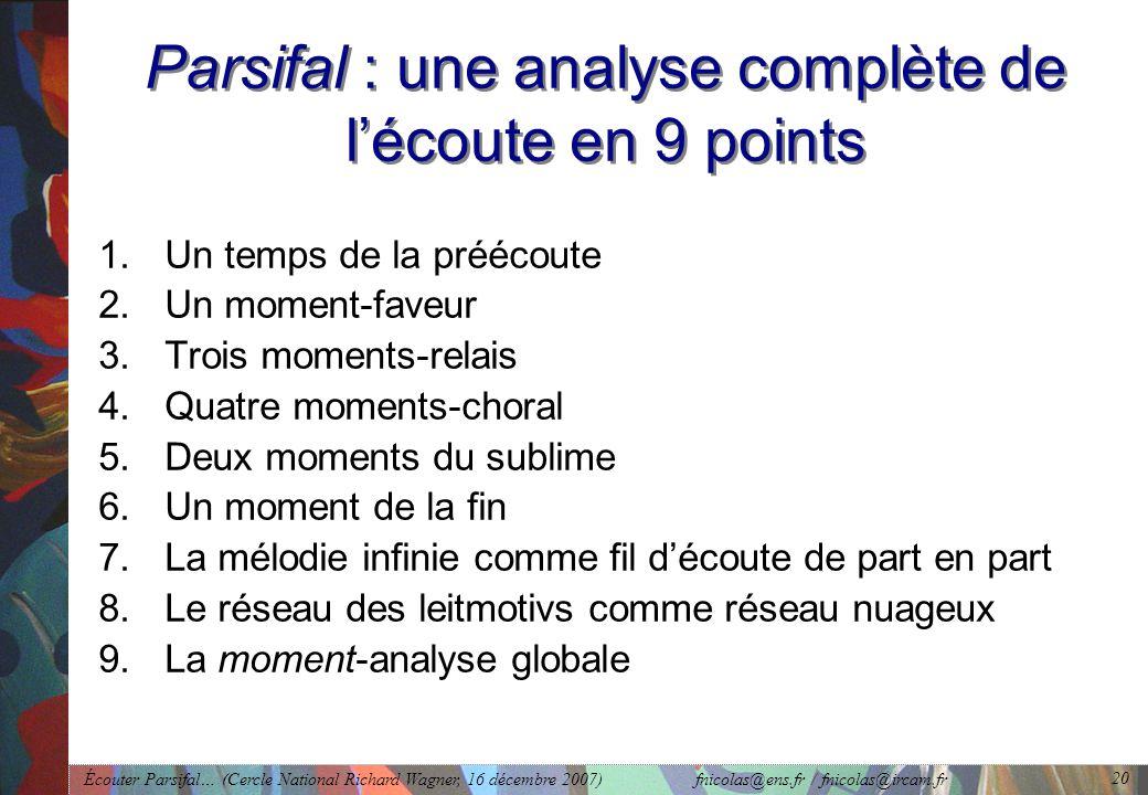 Écouter Parsifal… (Cercle National Richard Wagner, 16 décembre 2007) fnicolas@ens.fr / fnicolas@ircam.fr 20 Parsifal : une analyse complète de lécoute en 9 points 1.Un temps de la préécoute 2.Un moment-faveur 3.Trois moments-relais 4.Quatre moments-choral 5.Deux moments du sublime 6.Un moment de la fin 7.La mélodie infinie comme fil découte de part en part 8.Le réseau des leitmotivs comme réseau nuageux 9.La moment-analyse globale