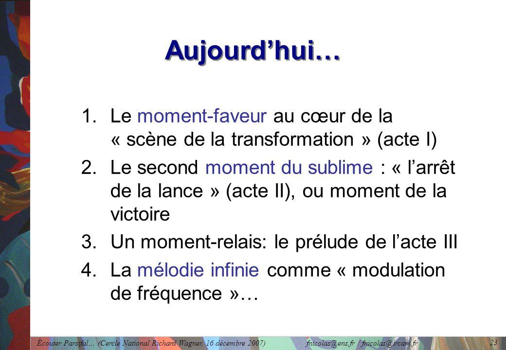 Écouter Parsifal… (Cercle National Richard Wagner, 16 décembre 2007) fnicolas@ens.fr / fnicolas@ircam.fr 23 Aujourdhui… 1.Le moment-faveur au cœur de la « scène de la transformation » (acte I) 2.Le second moment du sublime : « larrêt de la lance » (acte II), ou moment de la victoire 3.Un moment-relais: le prélude de lacte III 4.La mélodie infinie comme « modulation de fréquence »…