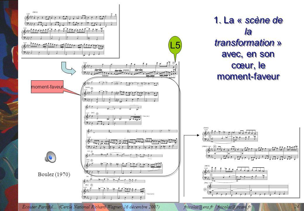 Écouter Parsifal… (Cercle National Richard Wagner, 16 décembre 2007) fnicolas@ens.fr / fnicolas@ircam.fr 24 1.