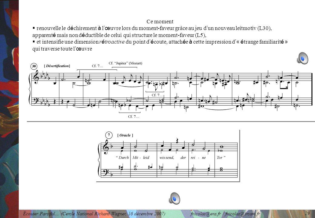 Écouter Parsifal… (Cercle National Richard Wagner, 16 décembre 2007) fnicolas@ens.fr / fnicolas@ircam.fr 29 Ce moment renouvelle le d é chirement à l œ uvre lors du moment-faveur grâce au jeu d un nouveau leitmotiv (L30), apparent é mais non d é ductible de celui qui structure le moment-faveur (L5), et intensifie une dimension r é troactive du point d é coute, attach é e à cette impression d « é trange familiarit é » qui traverse toute l œ uvre