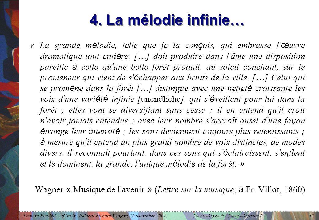 Écouter Parsifal… (Cercle National Richard Wagner, 16 décembre 2007) fnicolas@ens.fr / fnicolas@ircam.fr 30 4.