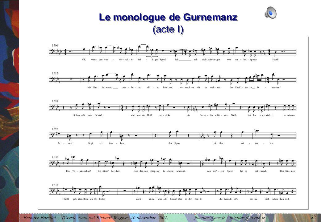 Écouter Parsifal… (Cercle National Richard Wagner, 16 décembre 2007) fnicolas@ens.fr / fnicolas@ircam.fr 32 Le monologue de Gurnemanz (acte I)