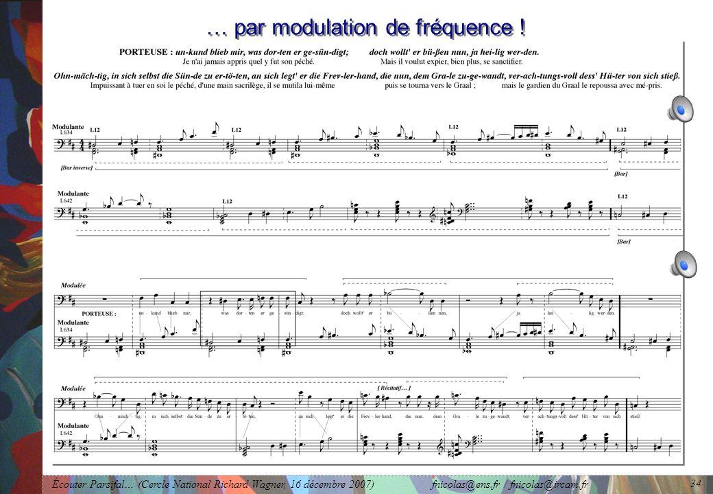 Écouter Parsifal… (Cercle National Richard Wagner, 16 décembre 2007) fnicolas@ens.fr / fnicolas@ircam.fr 34 … par modulation de fréquence !