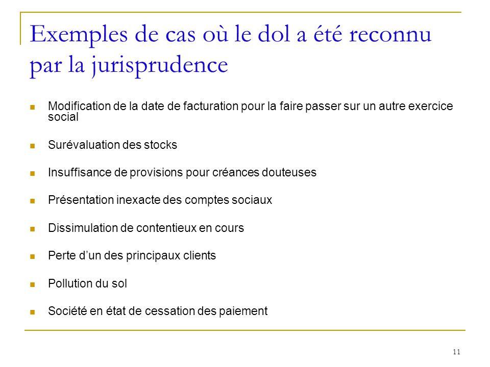 11 Exemples de cas où le dol a été reconnu par la jurisprudence Modification de la date de facturation pour la faire passer sur un autre exercice soci