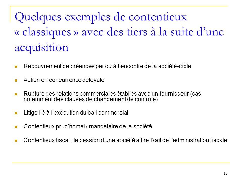 13 Quelques exemples de contentieux « classiques » avec des tiers à la suite dune acquisition Recouvrement de créances par ou à lencontre de la sociét