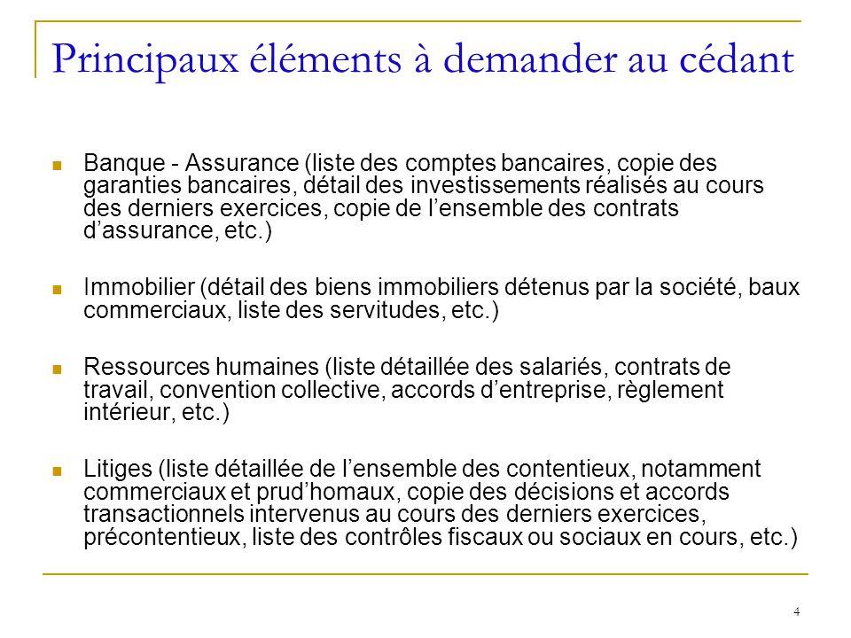 4 Principaux éléments à demander au cédant Banque - Assurance (liste des comptes bancaires, copie des garanties bancaires, détail des investissements