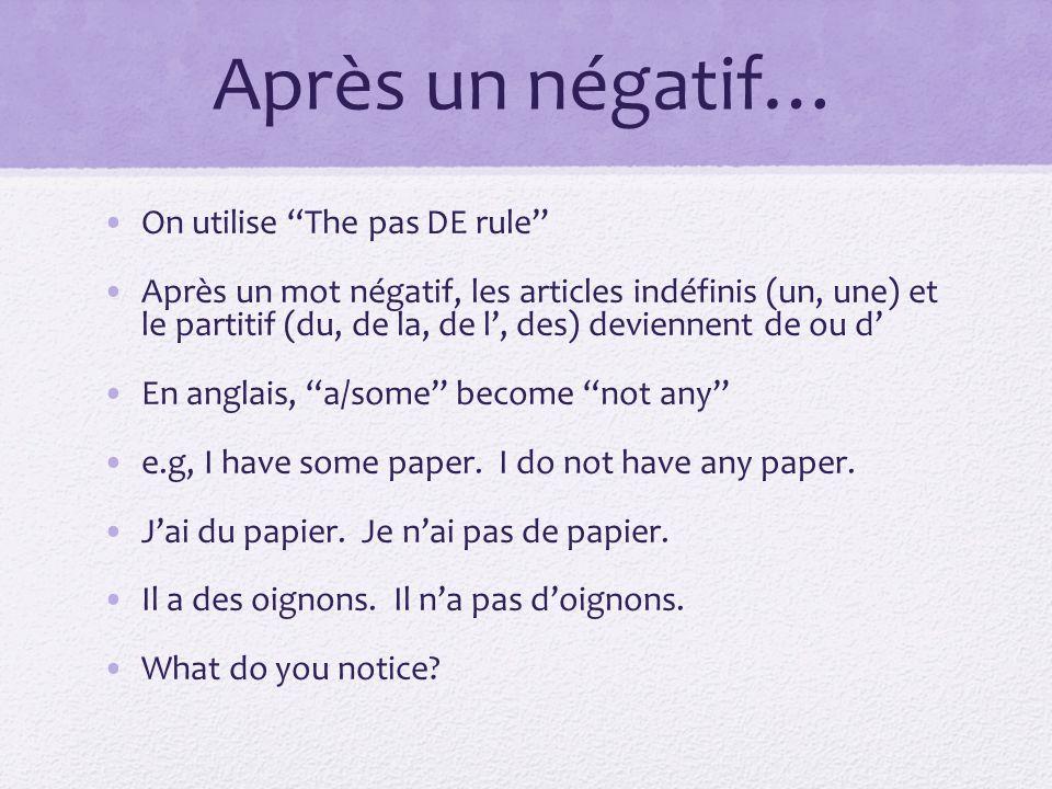 La règle Changez UN, UNE, DU, DE LA, DE L, DES à DE après un mot négatif.
