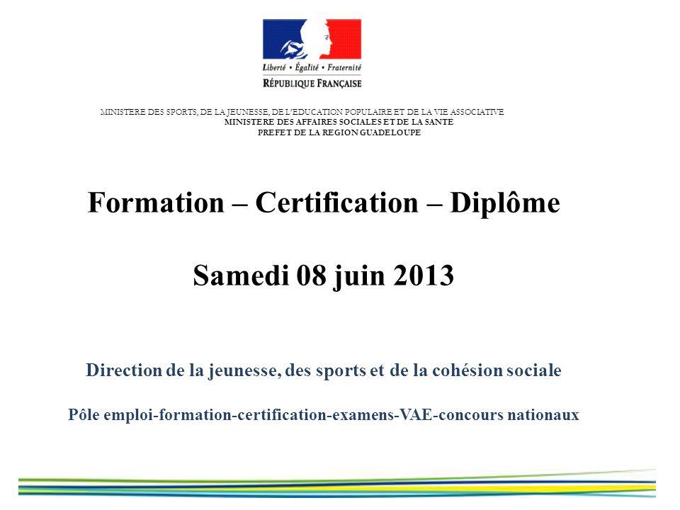 Formation – Certification – Diplôme Samedi 08 juin 2013 Direction de la jeunesse, des sports et de la cohésion sociale Pôle emploi-formation-certifica