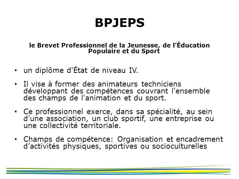BPJEPS le Brevet Professionnel de la Jeunesse, de lÉducation Populaire et du Sport un diplôme d'État de niveau IV. Il vise à former des animateurs tec