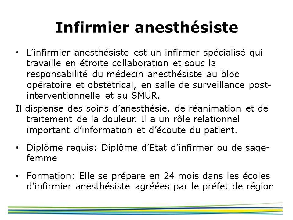 Infirmier anesthésiste Linfirmier anesthésiste est un infirmer spécialisé qui travaille en étroite collaboration et sous la responsabilité du médecin
