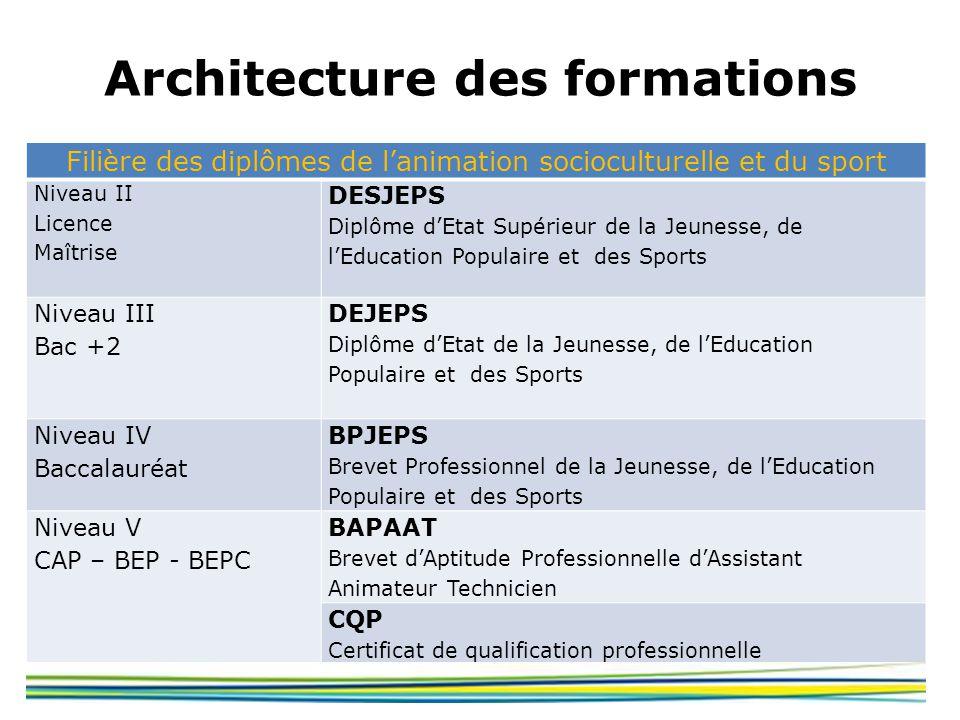 Architecture des formations Filière des diplômes de lanimation socioculturelle et du sport Niveau II Licence Maîtrise DESJEPS Diplôme dEtat Supérieur