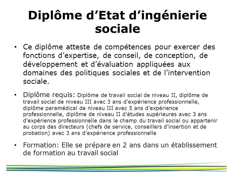 Diplôme dEtat dingénierie sociale Ce diplôme atteste de compétences pour exercer des fonctions dexpertise, de conseil, de conception, de développement