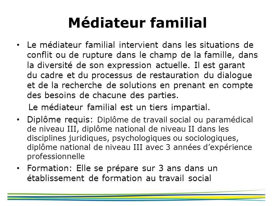 Médiateur familial Le médiateur familial intervient dans les situations de conflit ou de rupture dans le champ de la famille, dans la diversité de son