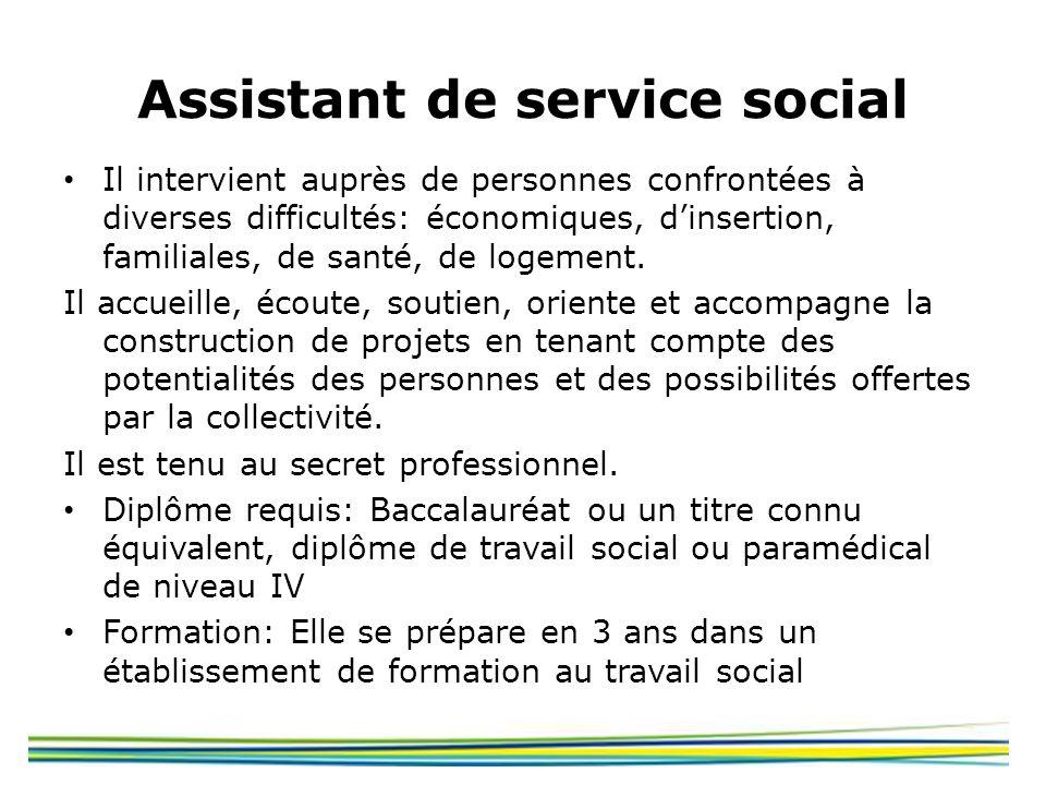 Assistant de service social Il intervient auprès de personnes confrontées à diverses difficultés: économiques, dinsertion, familiales, de santé, de lo